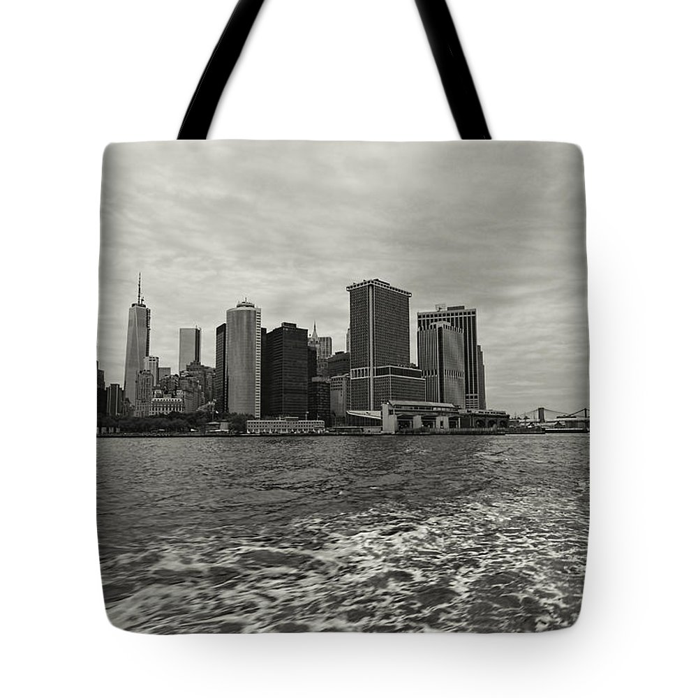 New York Skyline Tote Bag featuring the photograph New York Battery Park View by Jonathan Davison