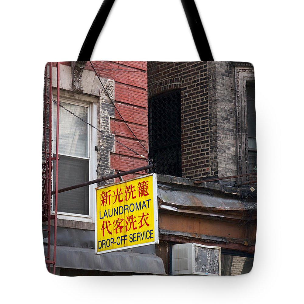 America Tote Bag featuring the photograph New York Chinese Laundromat Sign by Jannis Werner