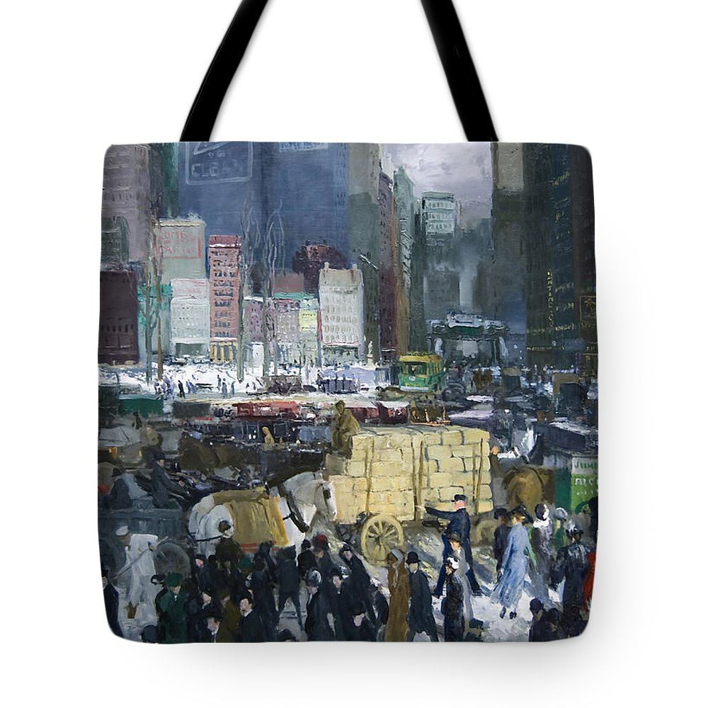 New York City Tote Bag featuring the painting New York City 1900s by Mountain Dreams