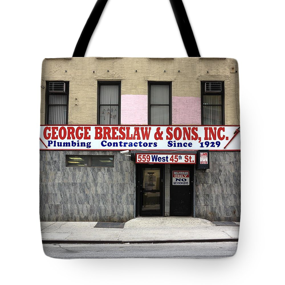 Alley Tote Bag featuring the photograph New York City Storefront 4 by Frank Romeo