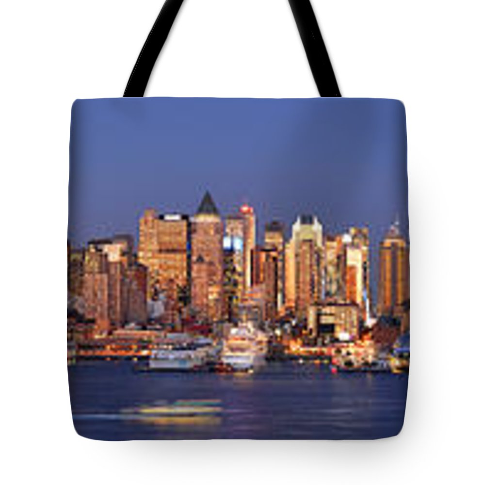 New York City Skyline At Dusk Tote Bag featuring the photograph New York City Midtown Manhattan At Dusk by Jon Holiday