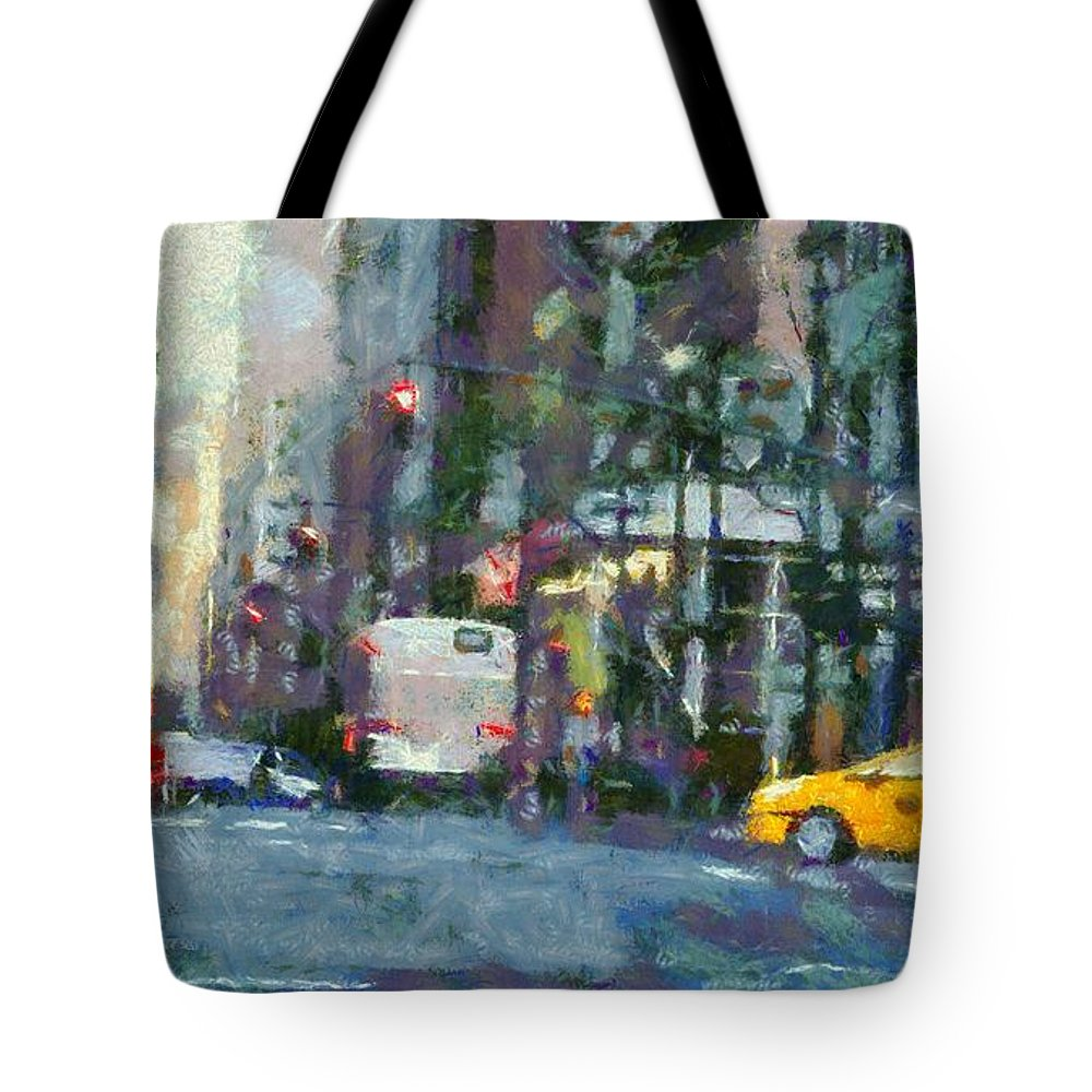 New York City Morning In The Street Tote Bag featuring the painting New York City Morning In The Street by Dan Sproul