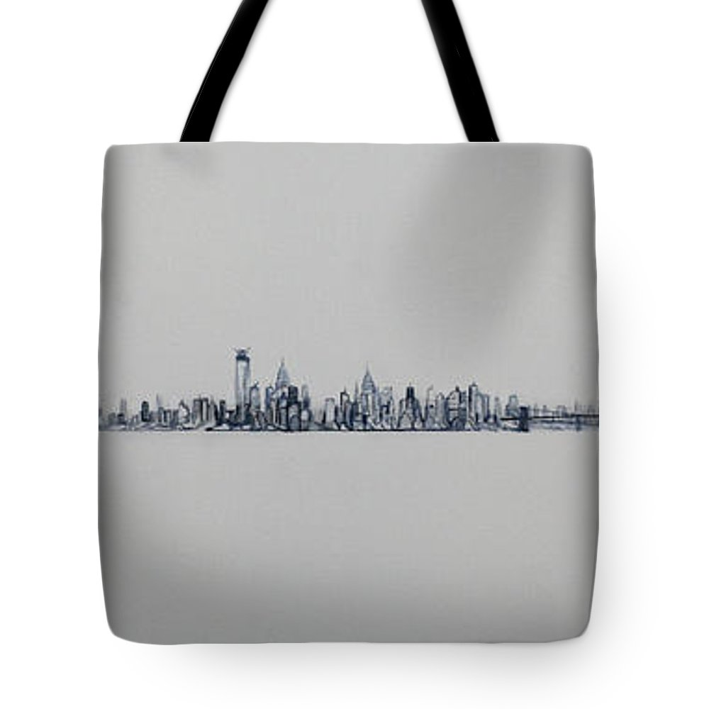 New York City Tote Bag featuring the painting New York City Skyline 15x45-1 by Jack Diamond