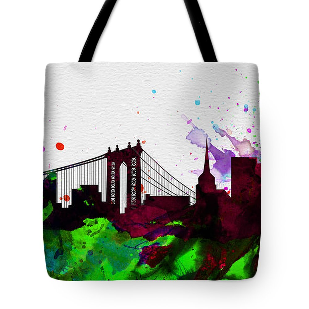 New York City Tote Bag featuring the painting New York City Skyline 2 by Naxart Studio
