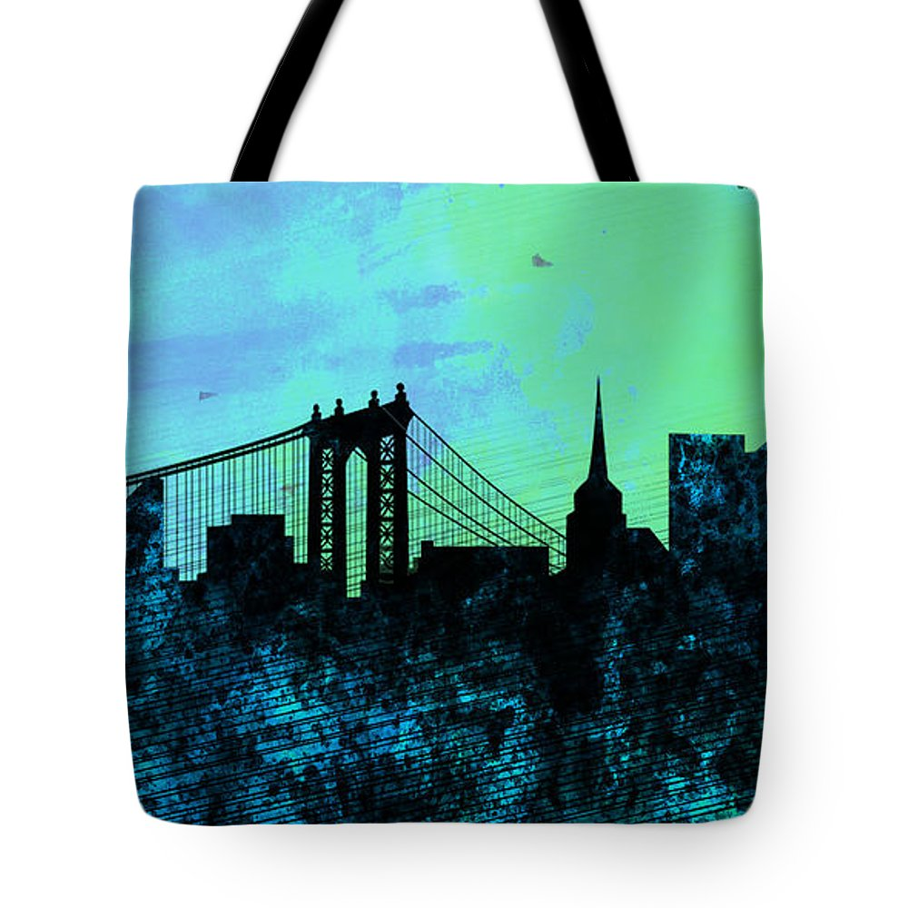 New York City Tote Bag featuring the painting New York City Skyline by Naxart Studio