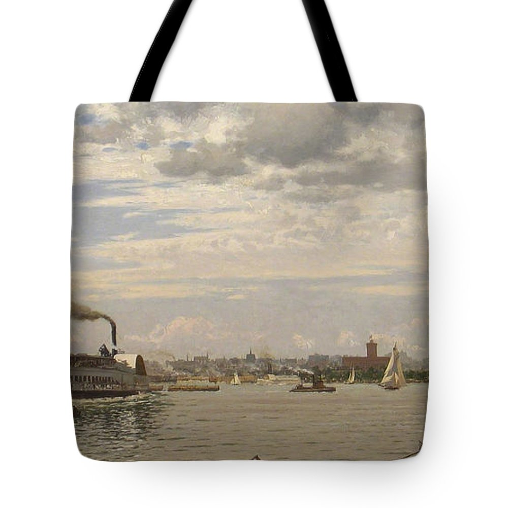 August Gottfried Ludwig Fricke Tote Bag featuring the painting New York Harbor From Bedloe's Island by Celestial Images