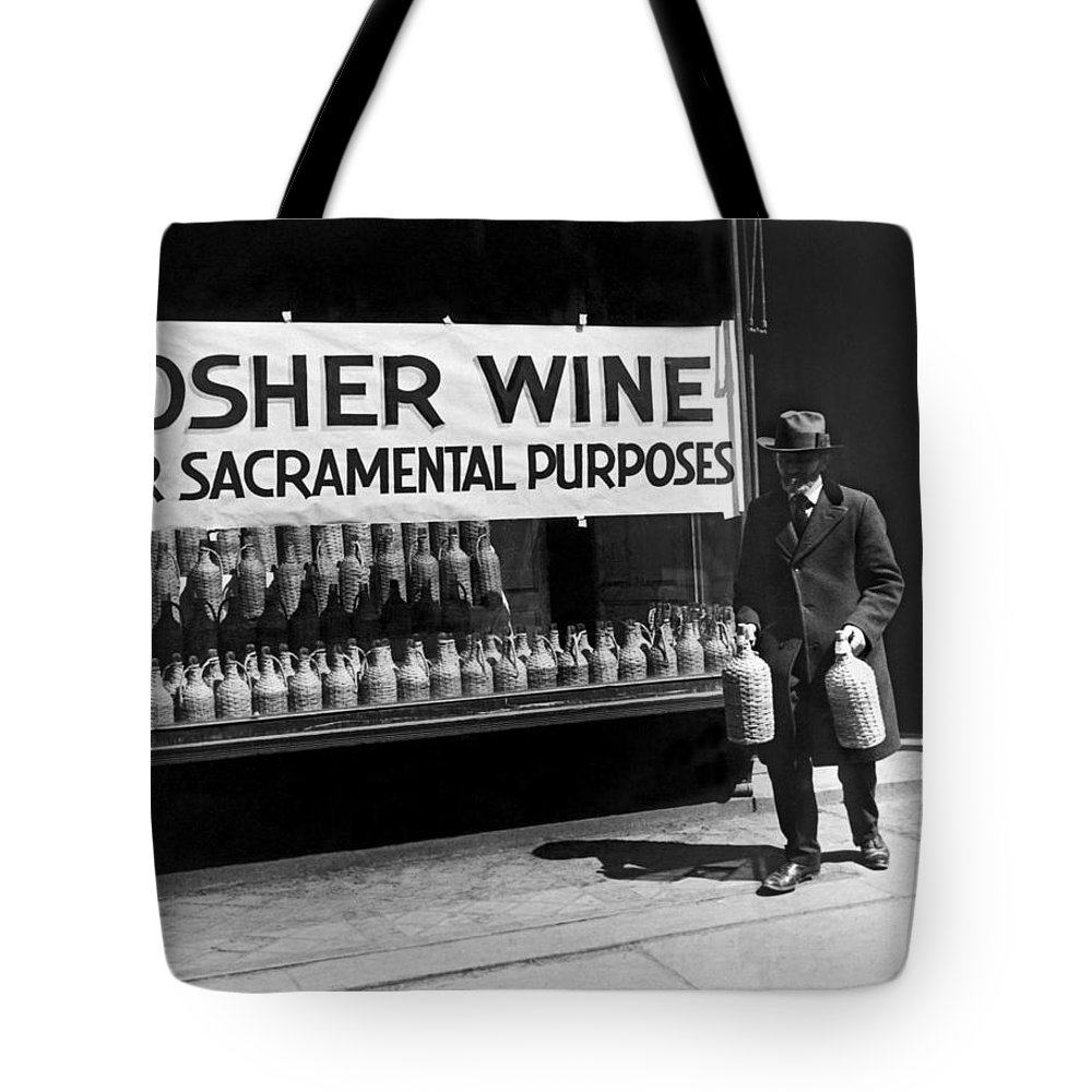 1930 Tote Bag featuring the photograph New York Kosher Wine For Sale by Underwood Archives