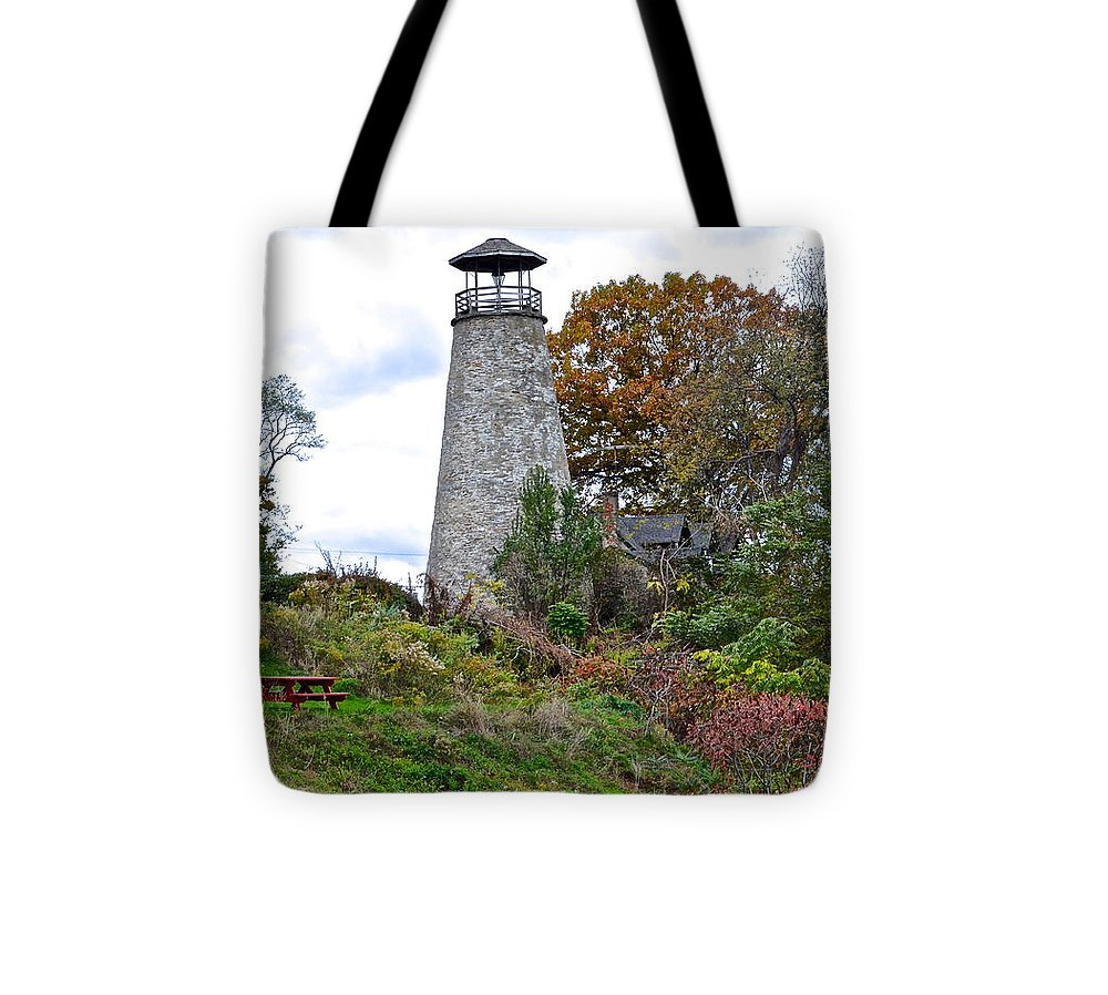 Ancient Tote Bag featuring the photograph New York Lighthouse by Frozen in Time Fine Art Photography