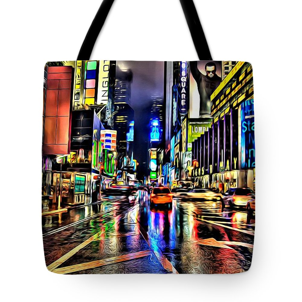 Black Tote Bag featuring the painting New York Lights In Rain by Florian Rodarte