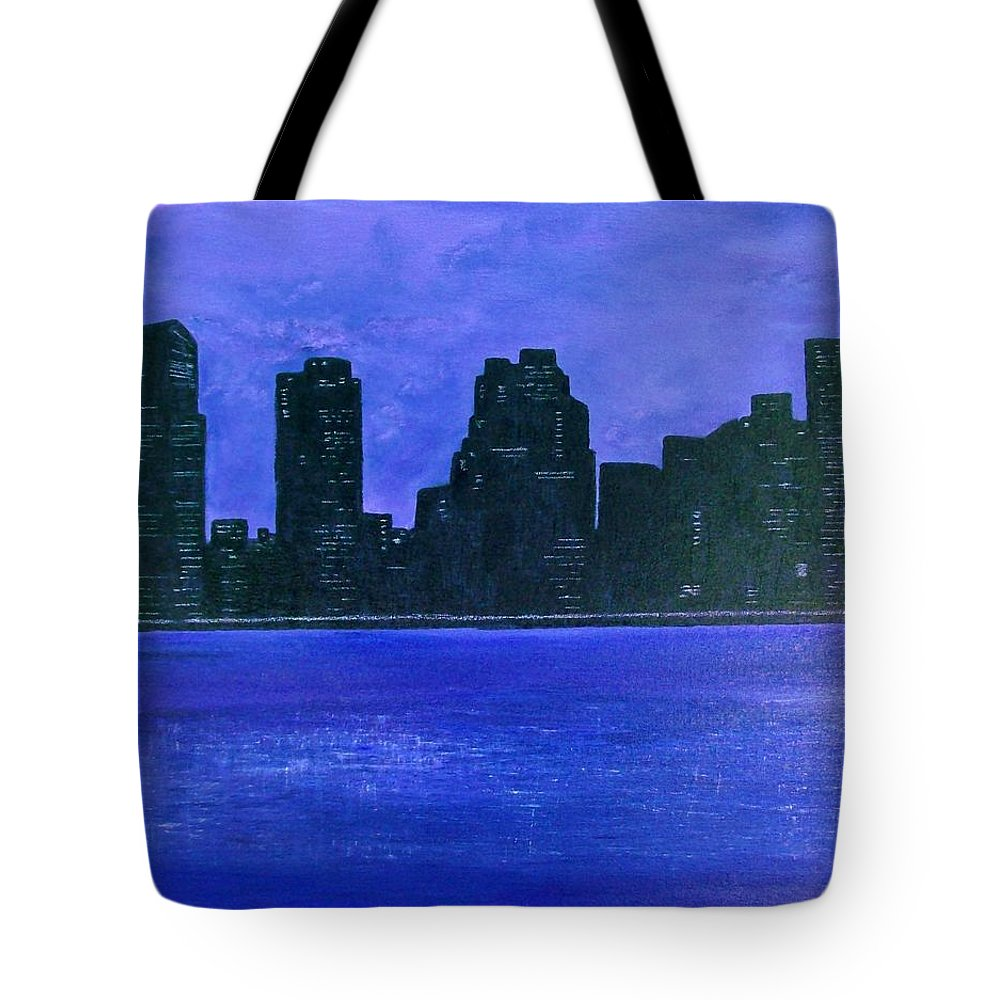 Cityscape Tote Bag featuring the painting New York Night by Linda Wimberly