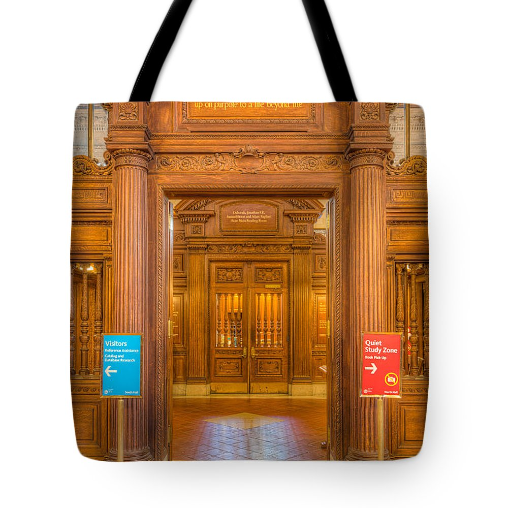 Clarence Holmes Tote Bag featuring the photograph New York Public Library Main Reading Room Entrance I by Clarence Holmes