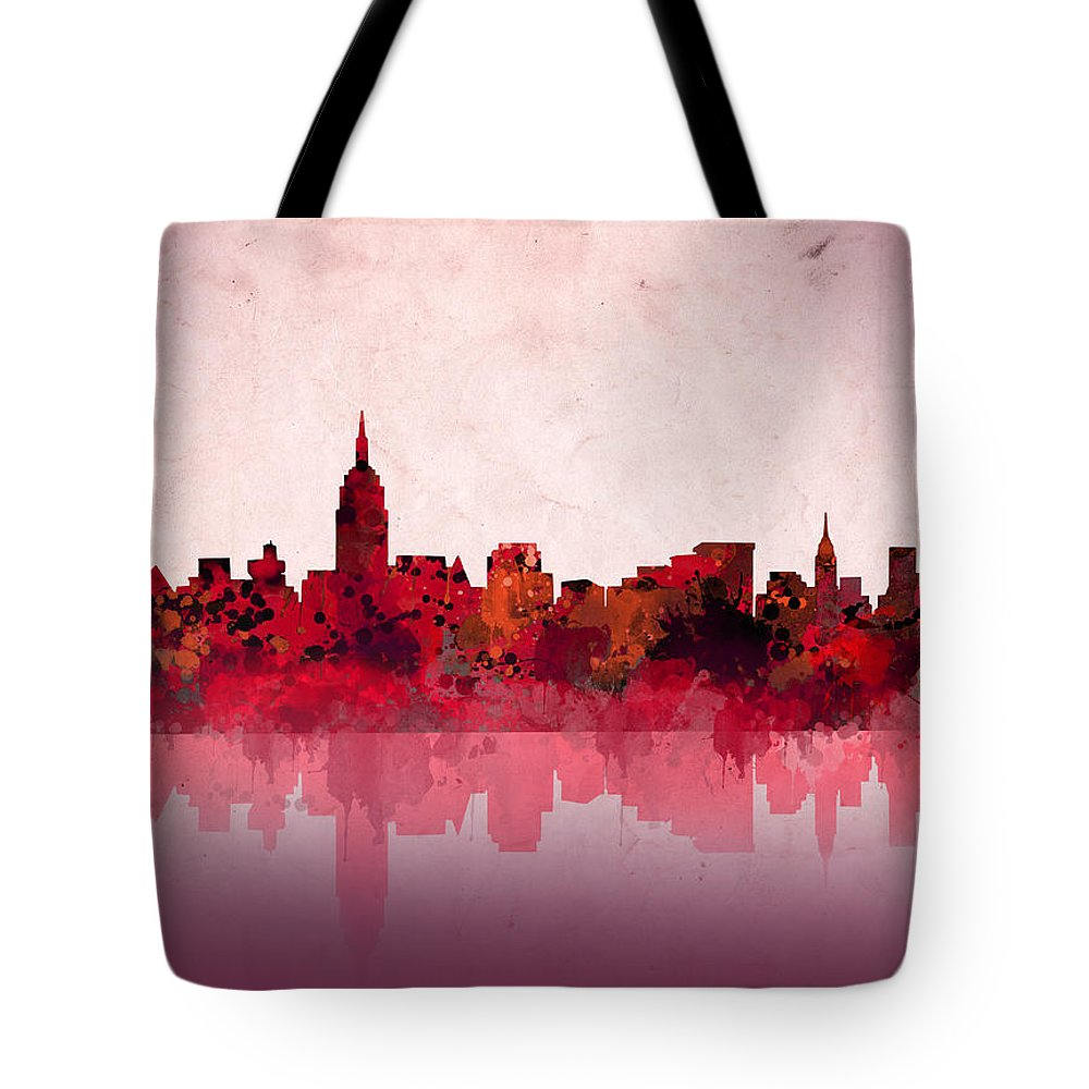 New York Tote Bag featuring the painting New York Skyline Red by Bekim M