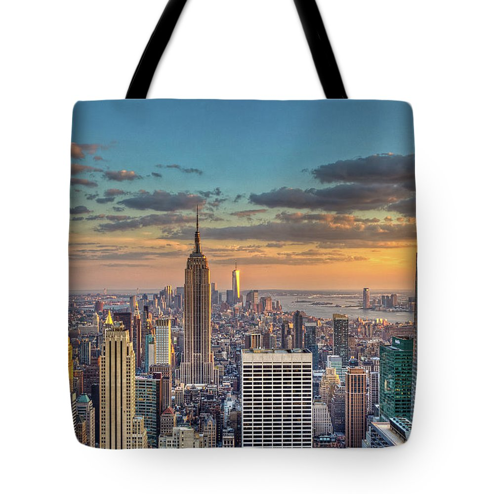 Tranquility Tote Bag featuring the photograph New York Skyline Sunset by Basic Elements Photography