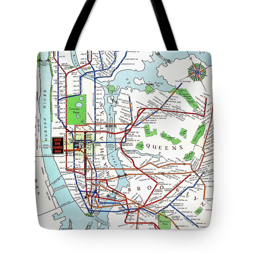 New York Subway Map For Sale.New York Subway Map 1940 Tote Bag