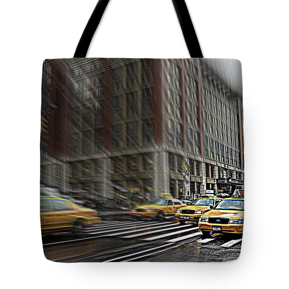 New York Tote Bag featuring the photograph New York Taxi Abstract by Jeff Watts
