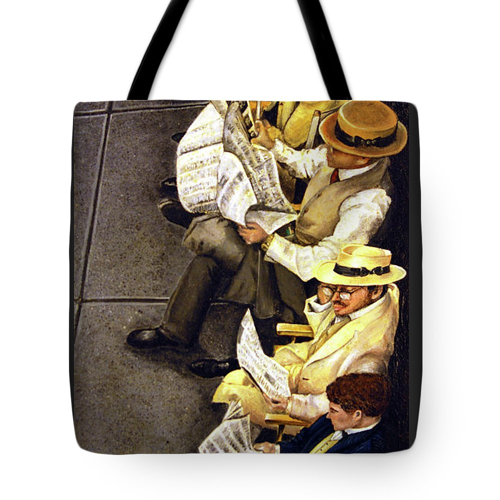 Newspaper Tote Bag featuring the painting New York Times by Linda Simon
