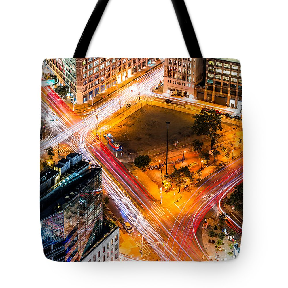 Aerial Tote Bag featuring the photograph New York Traffic by Mihai Andritoiu