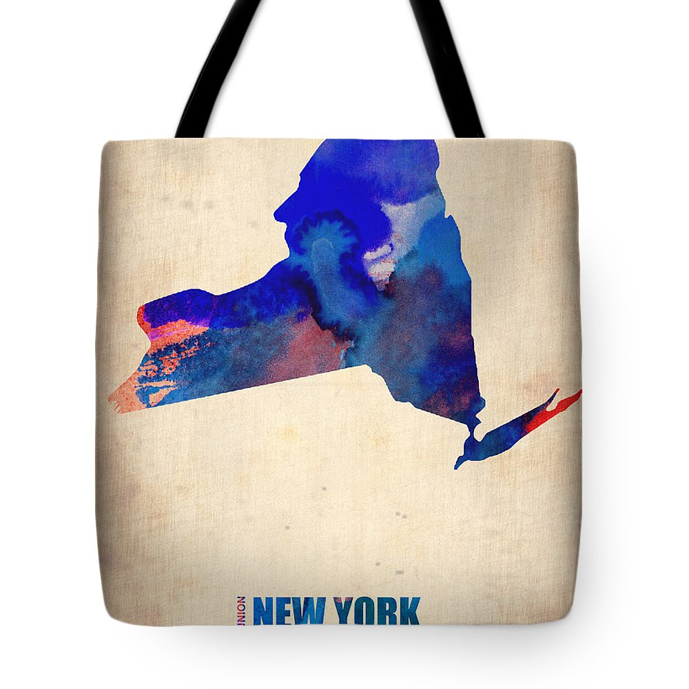 New York Tote Bag featuring the digital art New York Watercolor Map by Naxart Studio