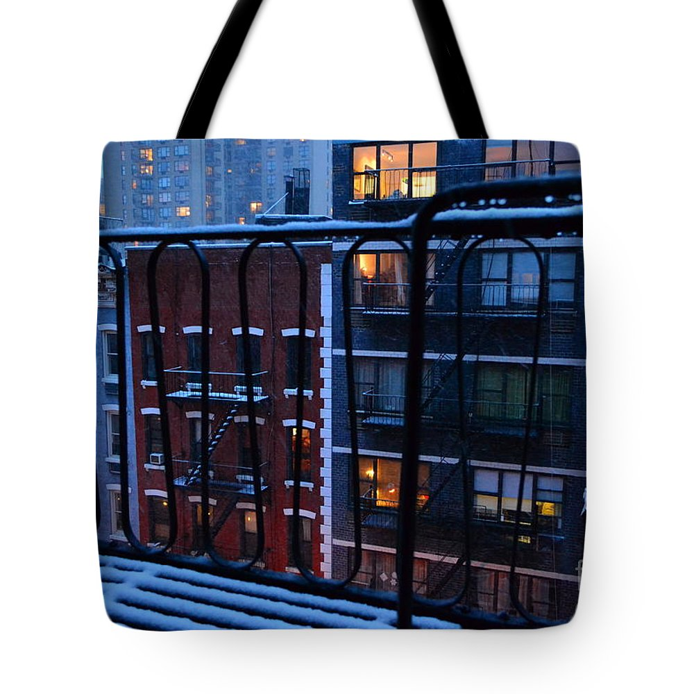 New York Tote Bag featuring the photograph New York Window - Fire Escape In Winter by Miriam Danar