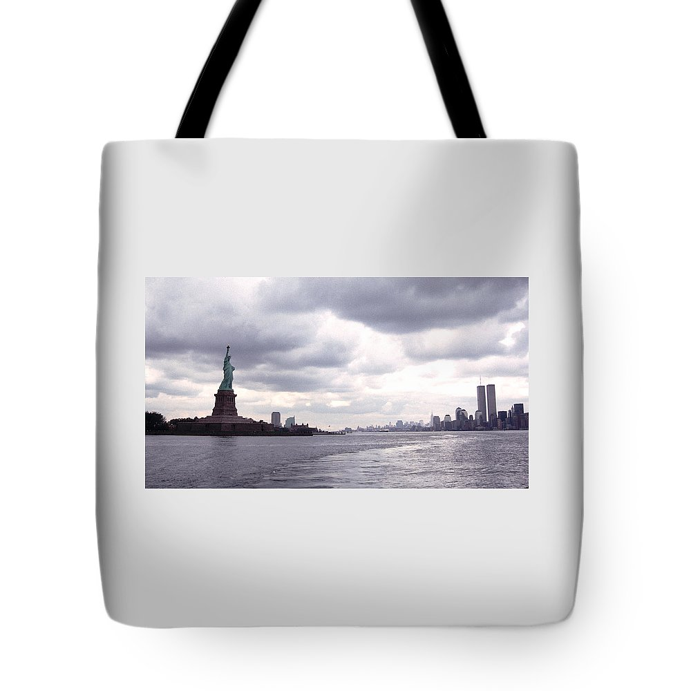 History Tote Bag featuring the photograph New York Harbor Panorama Twin Towers And Statue by Tom Wurl