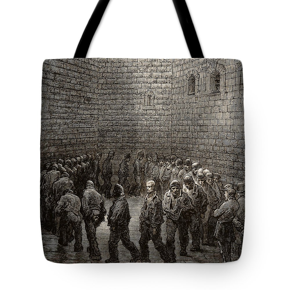 Gustave Dore Tote Bag featuring the drawing Newgate Prison Exercise Yard by Gustave Dore
