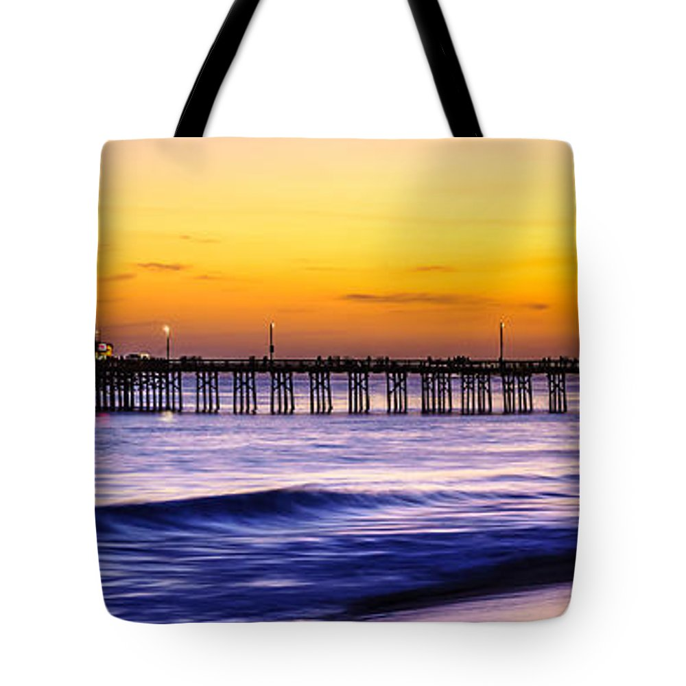 Balboa Tote Bag featuring the photograph Newport Beach Pier Panorama Sunset Photo by Paul Velgos