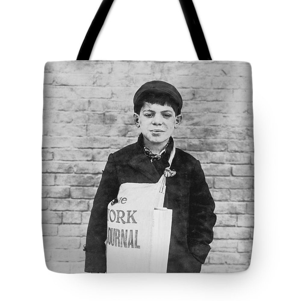 Worker Tote Bag featuring the photograph Newspaper Boy by Aged Pixel