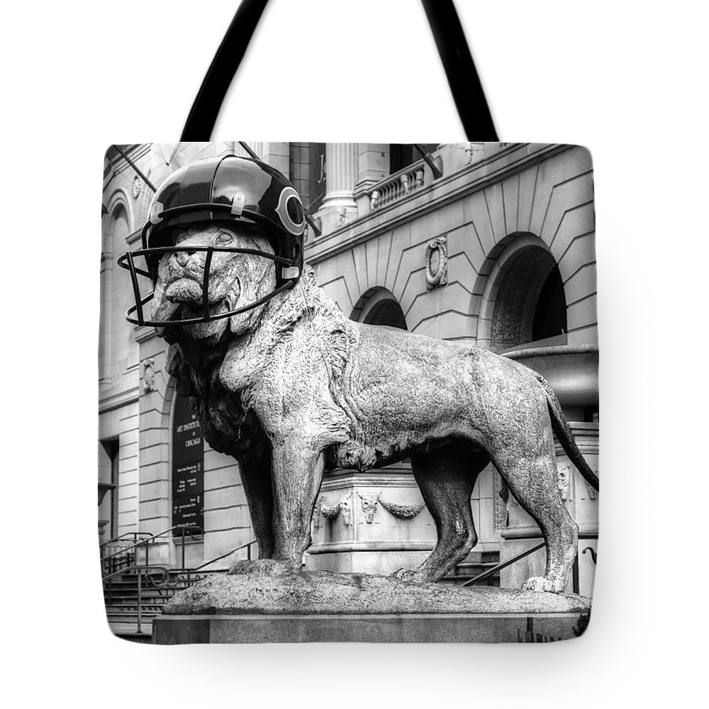 Chicago Bears Tote Bag featuring the photograph Chicago Bears Football Helmet Nfl by Patrick Warneka