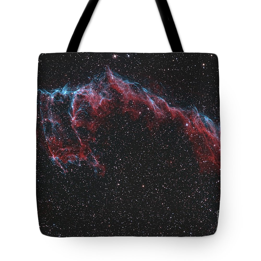 Night Tote Bag featuring the photograph Ngc 6992, The Eastern Veil Nebula by Reinhold Wittich