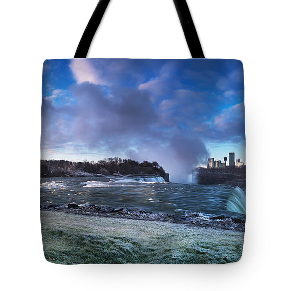 Niagara Tote Bag featuring the photograph Niagara Falls Dramatic Panoramic Scenery by Oleksiy Maksymenko