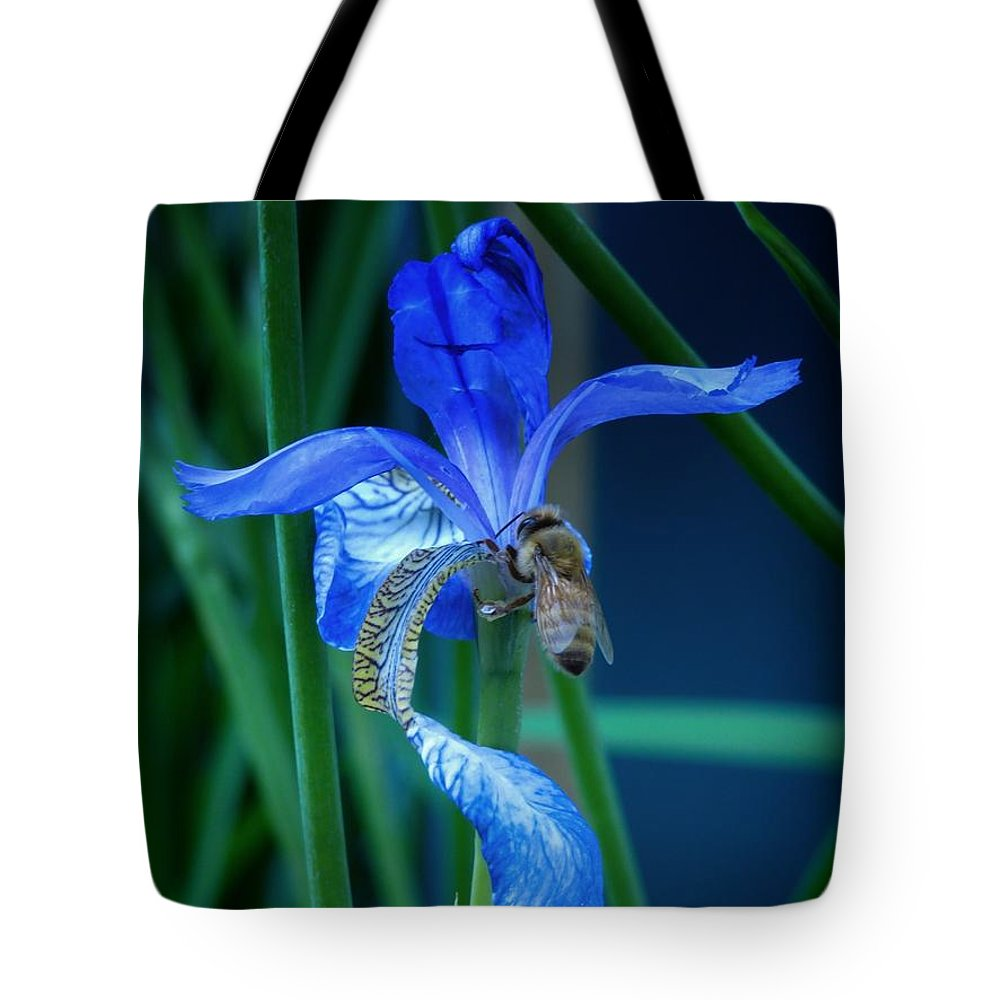 Jwygantirisbumblebeebluepurple Tote Bag featuring the photograph Nice Of You To Stop By by Jeanette Wygant