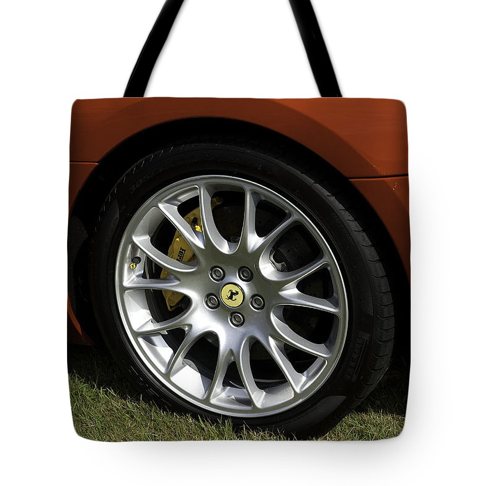 Ferrari Tote Bag featuring the photograph Nice Wheel by Peter Lloyd