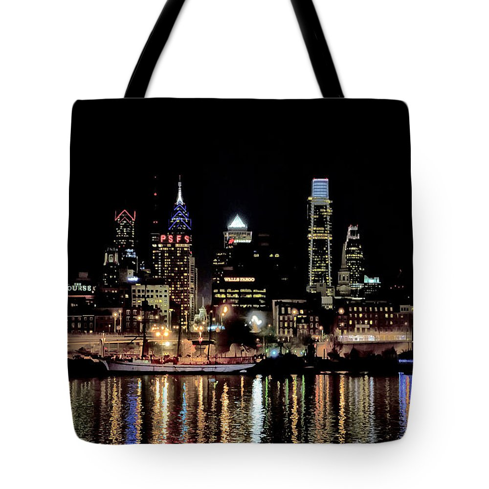 Night Tote Bag featuring the photograph Night At Penn's Landing - Philadelphia by Bill Cannon