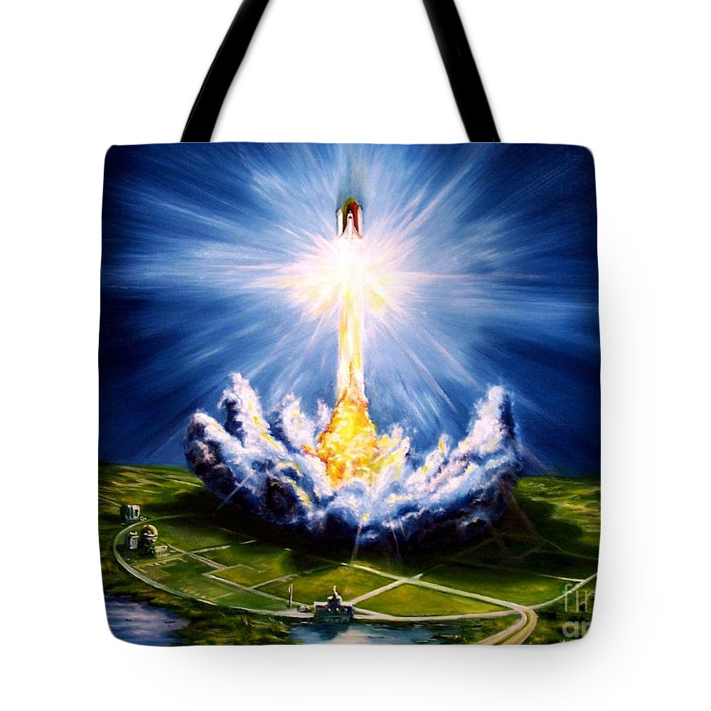 Landscape Tote Bag featuring the painting Night At The Cape by Murphy Elliott
