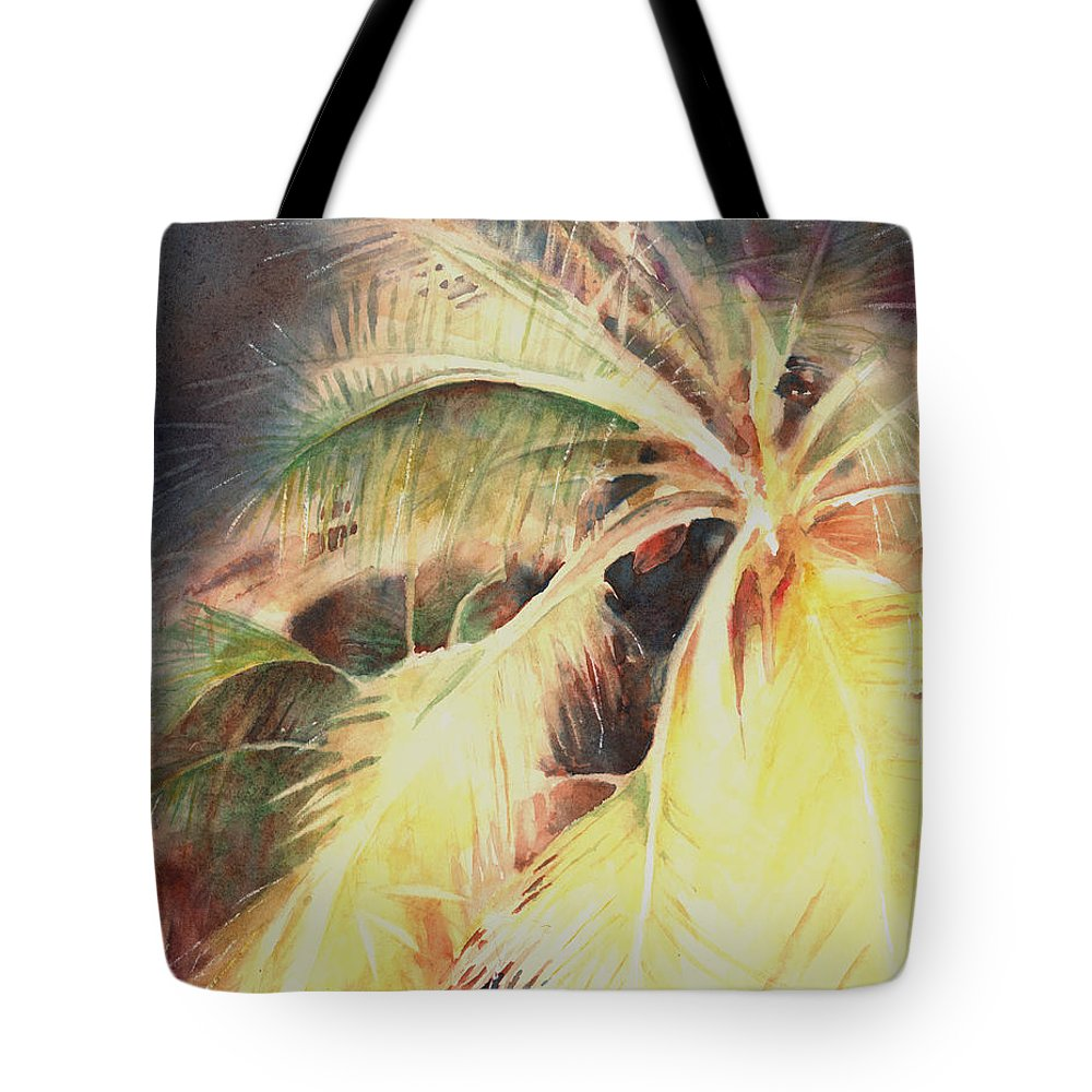 Palms Tote Bag featuring the painting Night Breeze Through Palms by John Dougan