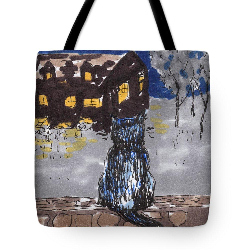 Cat Tote Bag featuring the painting Night Cat by Regina Valluzzi
