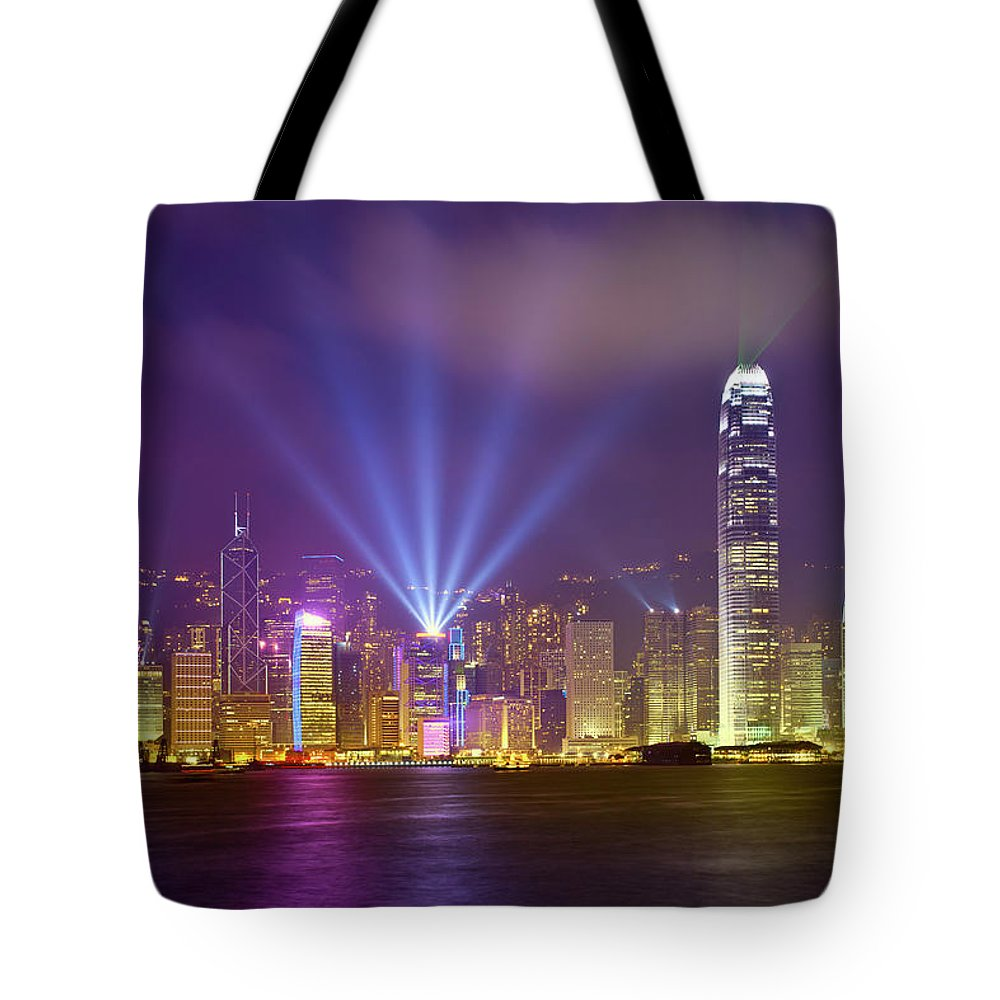 Chinese Culture Tote Bag featuring the photograph Night Cityscape Of Hongkong by Ithinksky