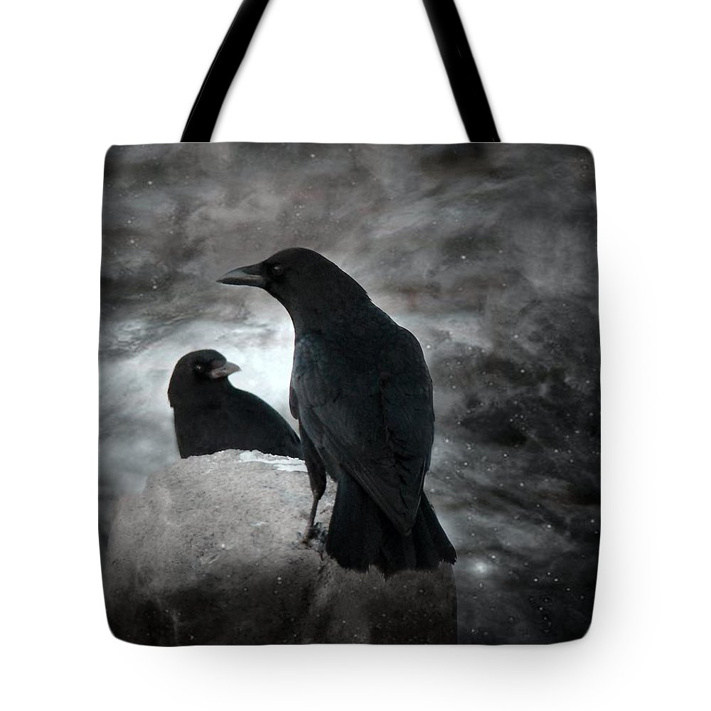 Crows At Night Tote Bag featuring the photograph Mysterious Night Crows by Gothicrow Images