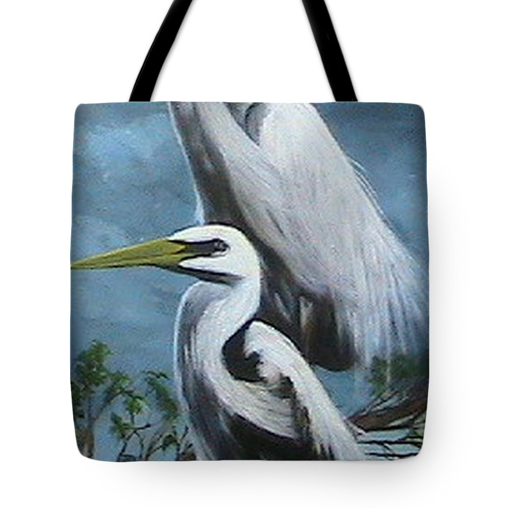Wildlife Tote Bag featuring the painting Night Egrets by Catherine Swerediuk