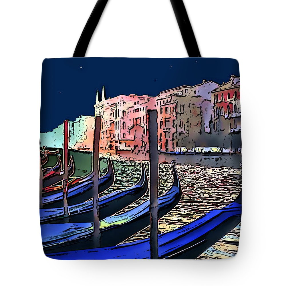 Impressionism Tote Bag featuring the photograph Night Falls In Venice by Linda Parker
