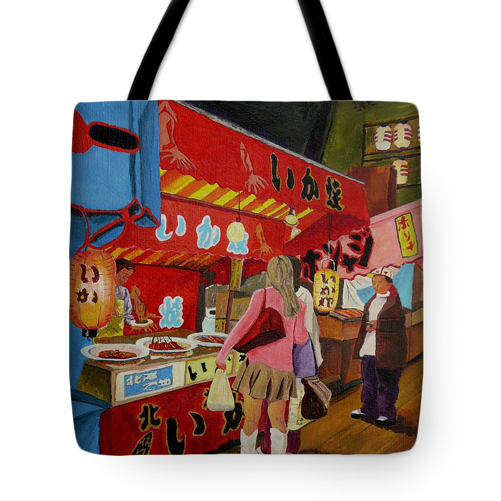 Japan Tote Bag featuring the painting Night Festival by Anthony Dunphy