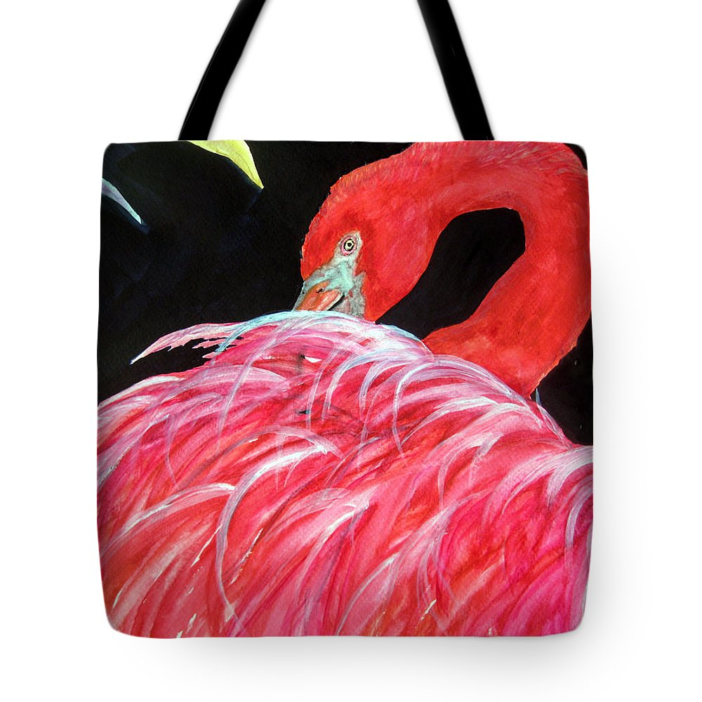 Pink Tote Bag featuring the painting Night Flamingo by Lil Taylor