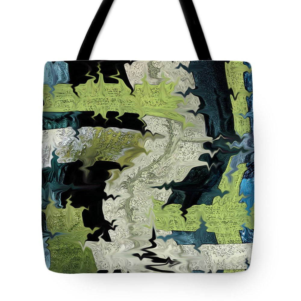 Green Tote Bag featuring the mixed media Night Forest by Mary Bedy