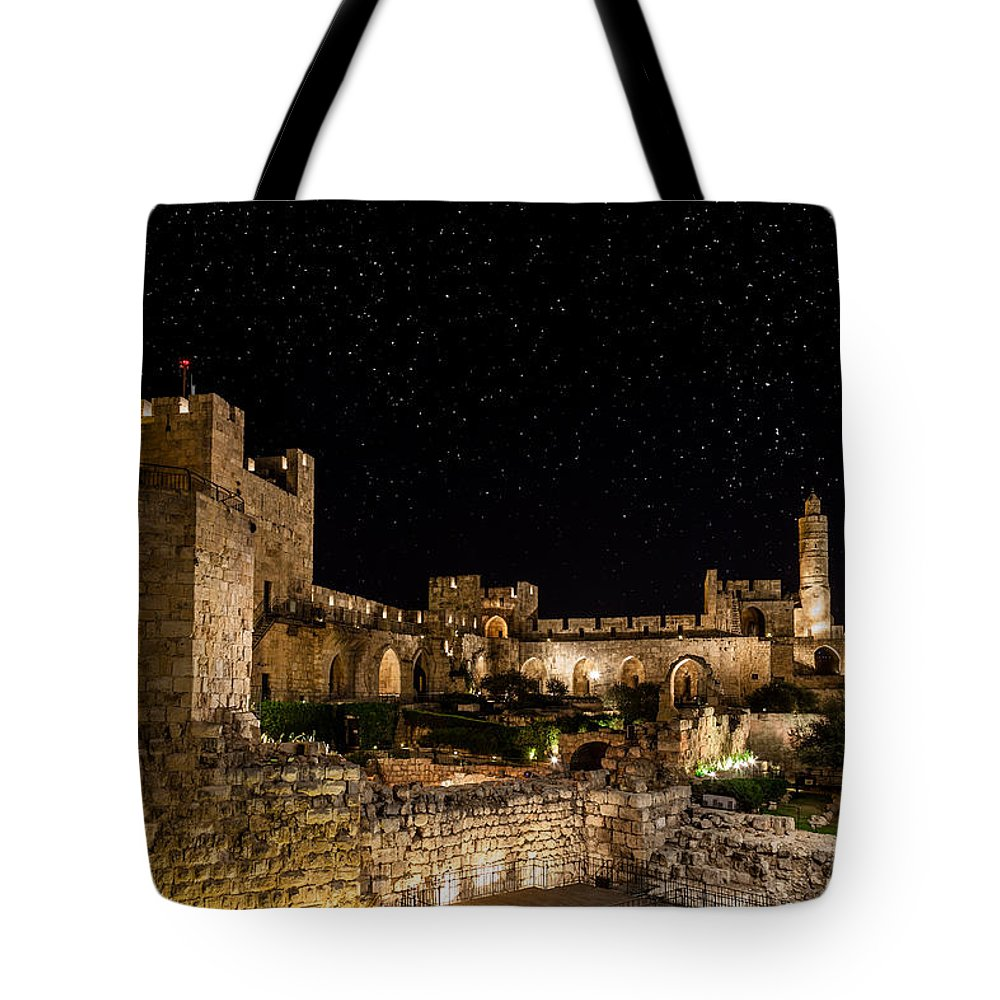 Israel Tote Bag featuring the photograph Night In The Old City by Alexey Stiop