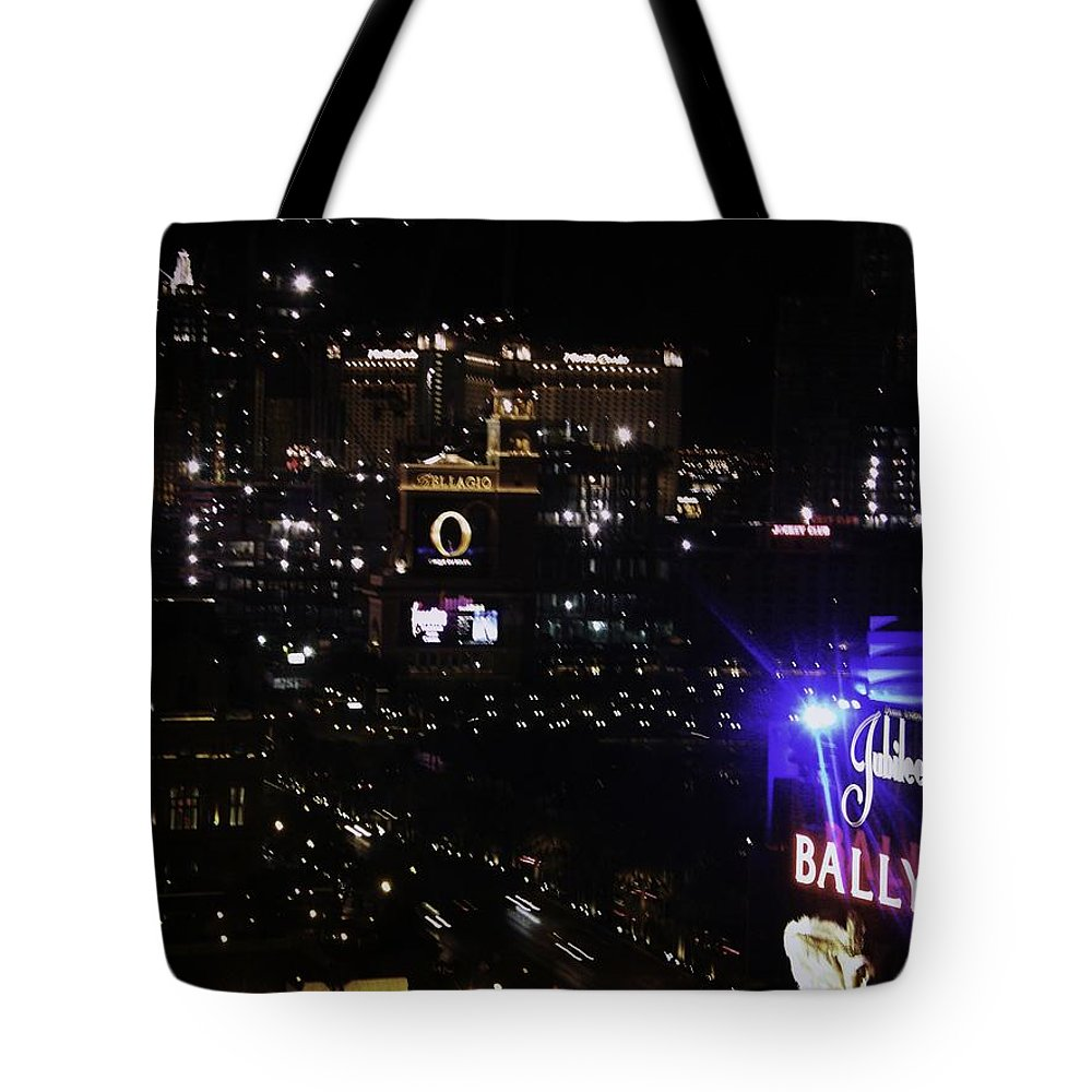Vegas Tote Bag featuring the photograph Night In Vegas 2008 by Image Takers Photography LLC - Carol Haddon