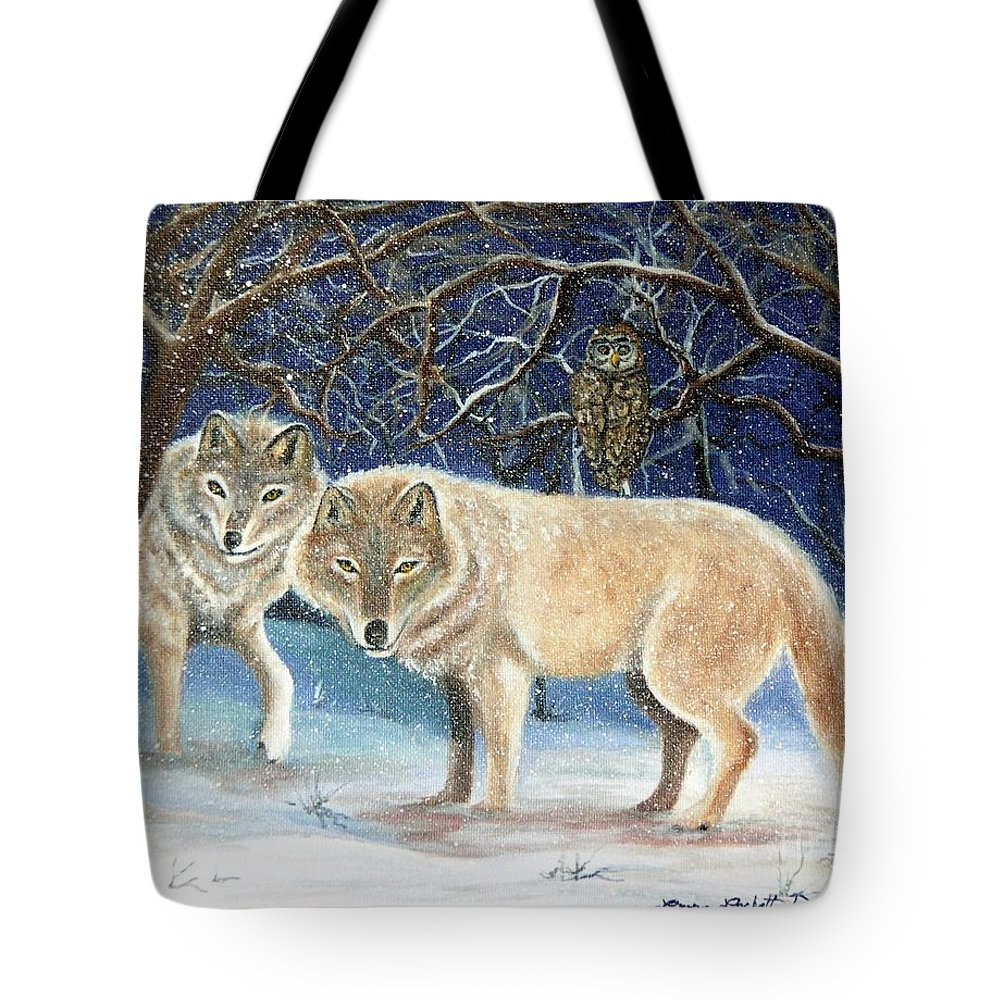 Wolves Tote Bag featuring the painting Night Life In The Forest by Lora Duguay
