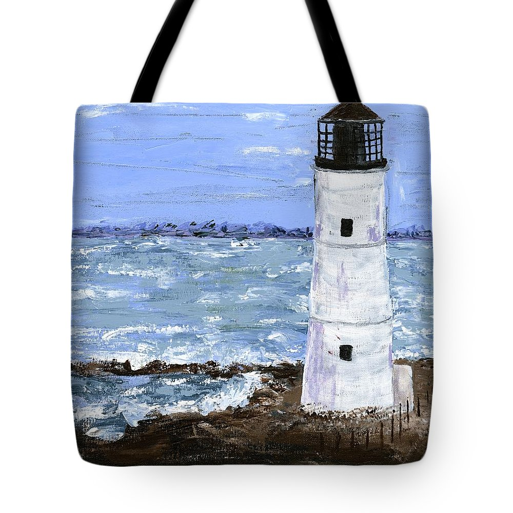 Lighthouse Tote Bag featuring the painting Night Light by Alice Faber