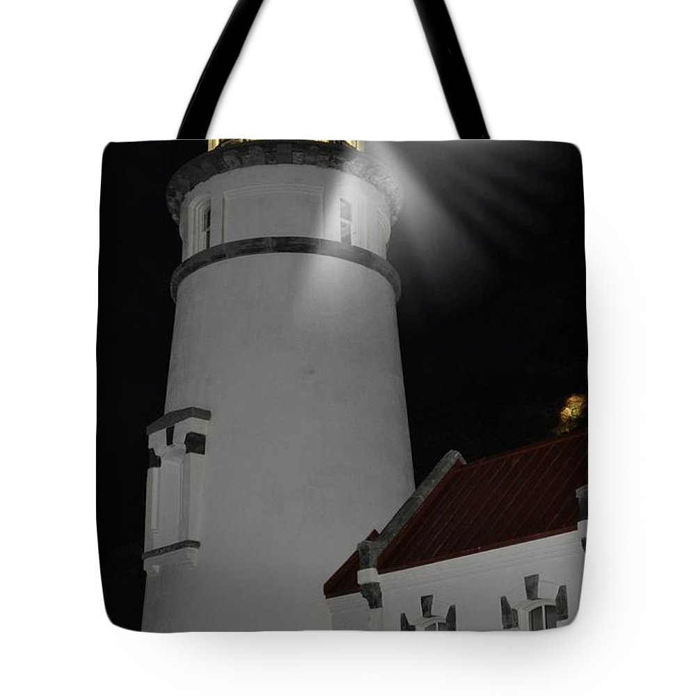 Heceta Head Tote Bag featuring the photograph Night Light by Image Takers Photography LLC - Laura Morgan