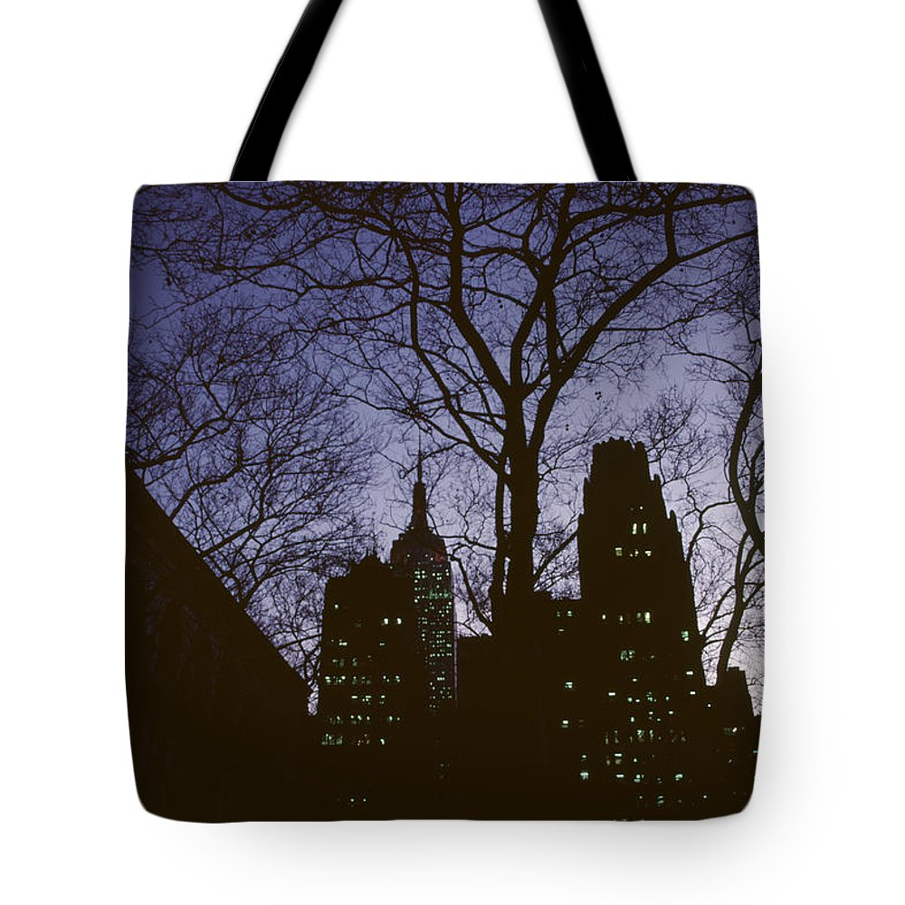Cityscape Tote Bag featuring the photograph Night Lights Empire State by David Hohmann