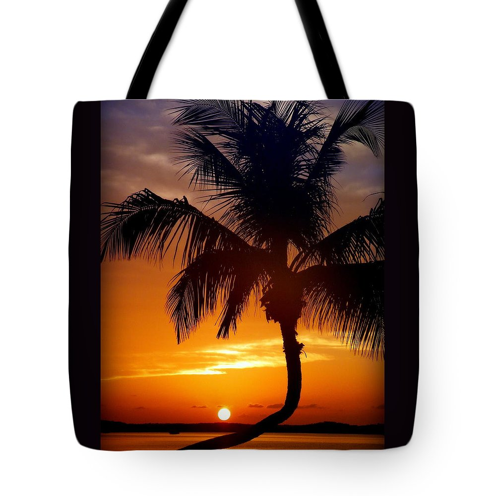 Palm Tree Silhouettes Tote Bag featuring the photograph Night Of The Sun by Karen Wiles